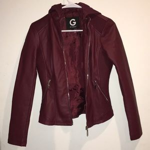 G by Guess Maroon Leather Jacket